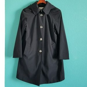 {London Fog} Black Classic Trench Coat with Hood